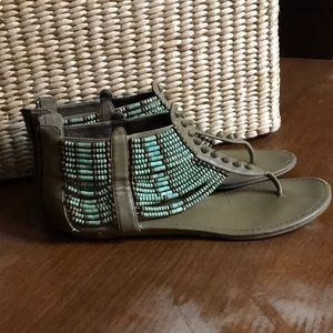 Coconuts 'Aztec' bohemian wood-beaded sandals-teal